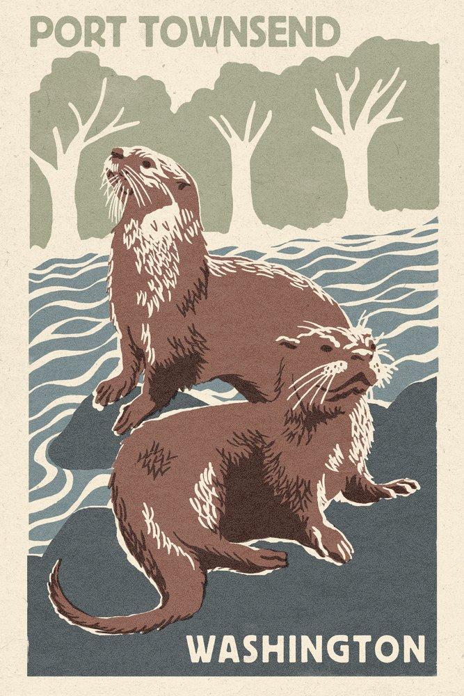 ポートTownsend、ワシントン – 川Otters – Woodblock Print 36 x 54 Giclee Print LANT-47492-36x54 36 x 54 Giclee Print  B017EA0EEA