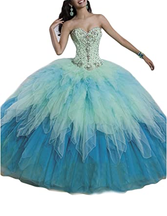LMBRIDAL Womens Beading Ombre Prom Dress Ball Gown Quinceanera Dress Blue 2