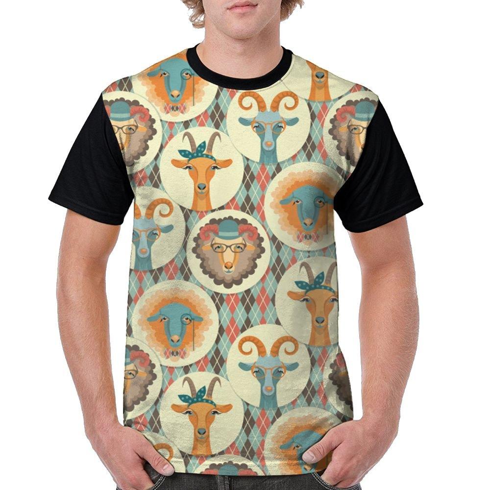 Goat Face Men's Raglan Short Sleeve Tops T-Shirt Fashion Undershirts Baseball Tees