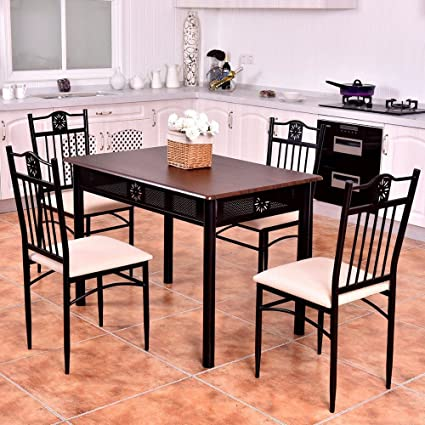 Tracy Home Goods 5 Piece Kitchen Dining Set Wood Metal Table And 4 Chairs Breakfast