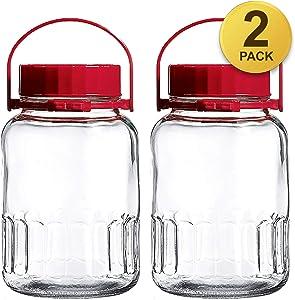 Premium 1 Gallon Glass Jar Wide Mouth Airtight Plastic Lid 4L Preserving Bulk-dry Food Storage BPA-Free Dishwasher Safe Mason Jar Canister Jug Fermenting Kombucha Kefir Storing Canning Clear 2 Pack