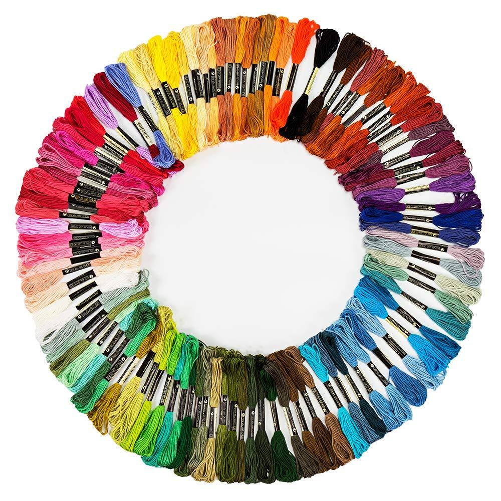 Premium Embroidery Floss, 100 Skeins Rainbow Color Cross Stitch Threads, Embroidery Threads, Handmade Craft Floss, Friendship Bracelet String(6 Strands 8.75 Yard) Weico