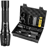Goreit Tactical USB Rechargeable Flashlight, 900 Lumens Super Bright, Military CREE Led Torch,IP65 Resistant, 5 Modes Light with Mount For Camping Hiking Including 18650 Battery & 2 chargers