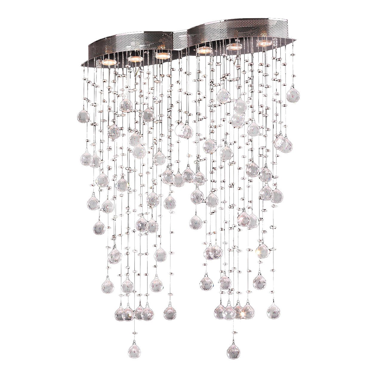 Worldwide Lighting Icicle Collection 6 Light Chrome Finish and Clear Crystal Flush Mount Ceiling Light 29 L x 8 W x 40 H Oblong Extra Large