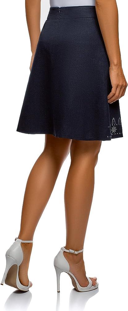 oodji Ultra Mujer Falda de Lino con Decoración Metálica Étnica ...