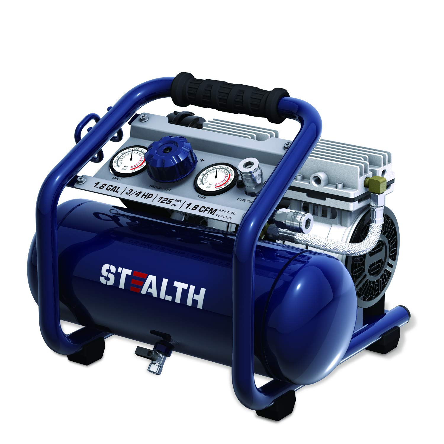 STEALTH Air Compressor, Ultra Quiet and Oil-Free 3/4 HP 2 Gallon with Low Voltage Start and Auto Drain Valve, Blue-SAQ-1234