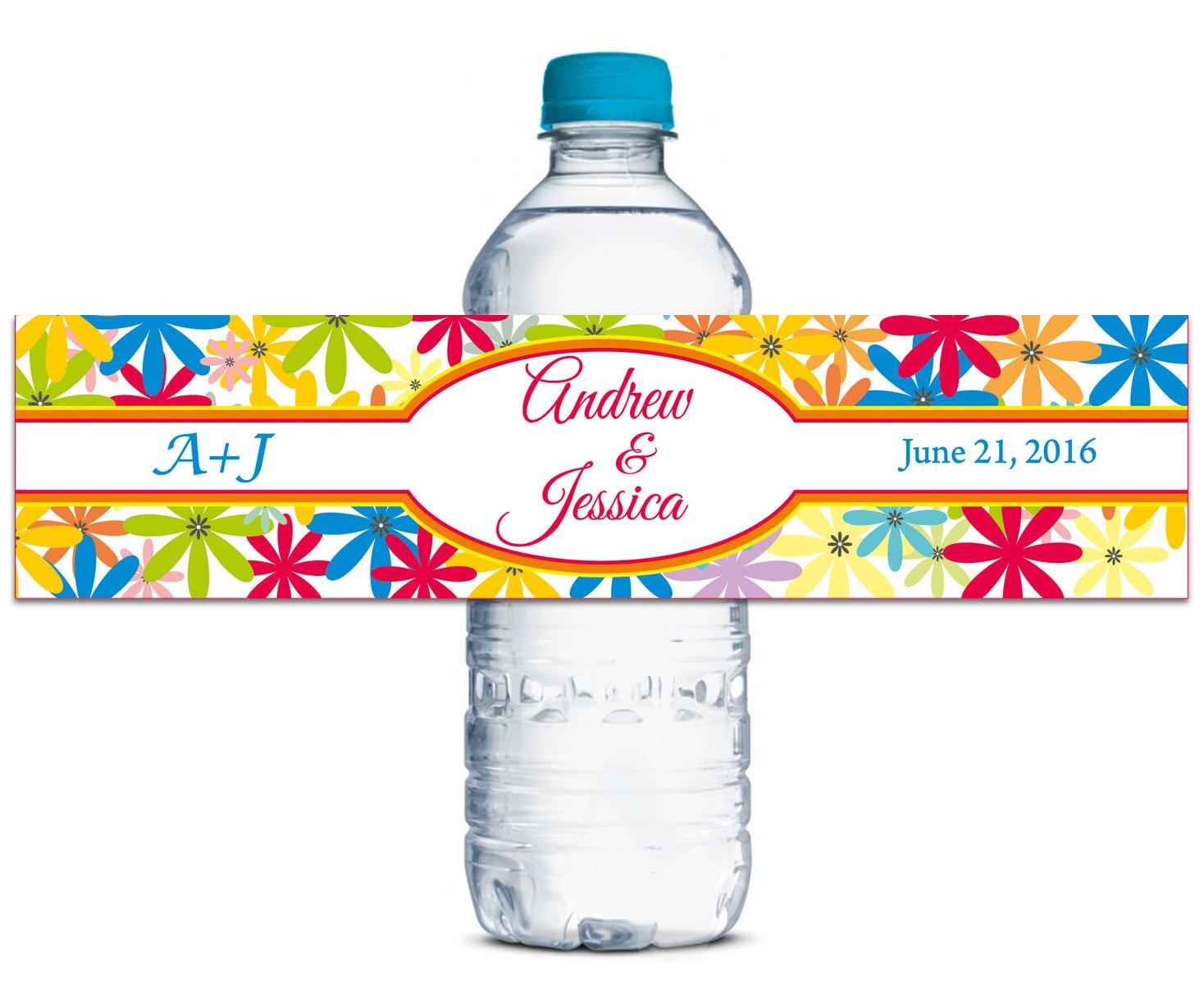 Custom Wedding Water Bottle Bottle Bottle Labels Floral Wedding Stickers Self Waterproof Retro 8  x 2  Inches - 60 Labels B013UV8PQG | Gute Qualität  06e9a8