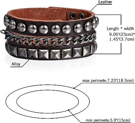 Classique Large Croix Chaîne Boucle Homme Femme Réglable Cuir Bracelet Bangle