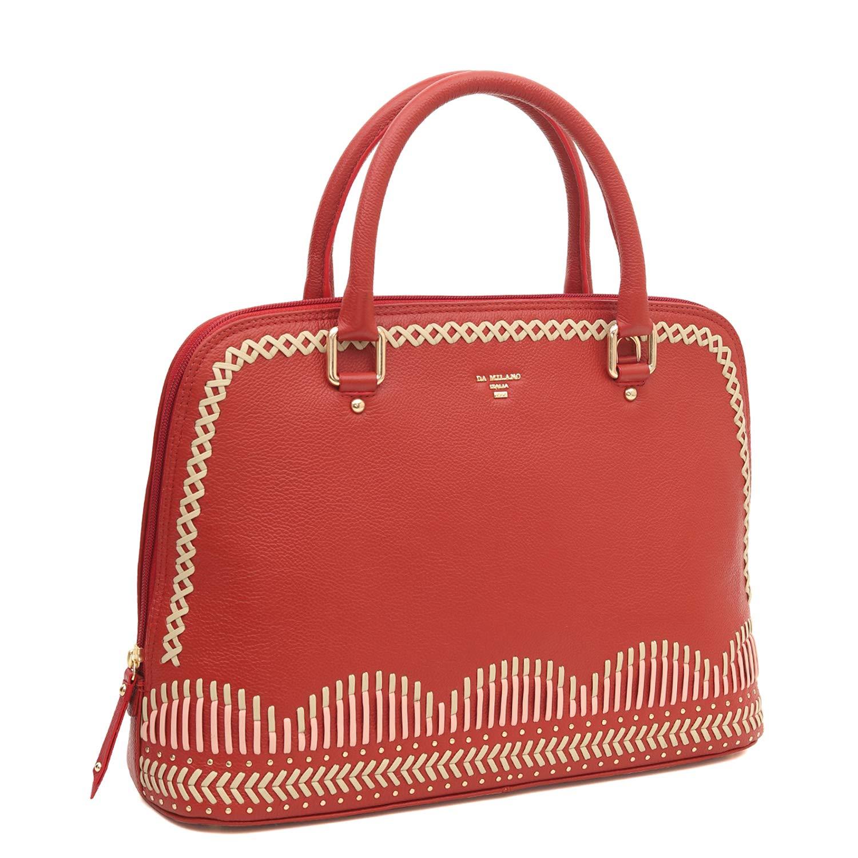 4c76b84e331d Da Milano LB-1114 Red   Beige Genuine Leather Satchel Bag  Amazon.in  Shoes    Handbags