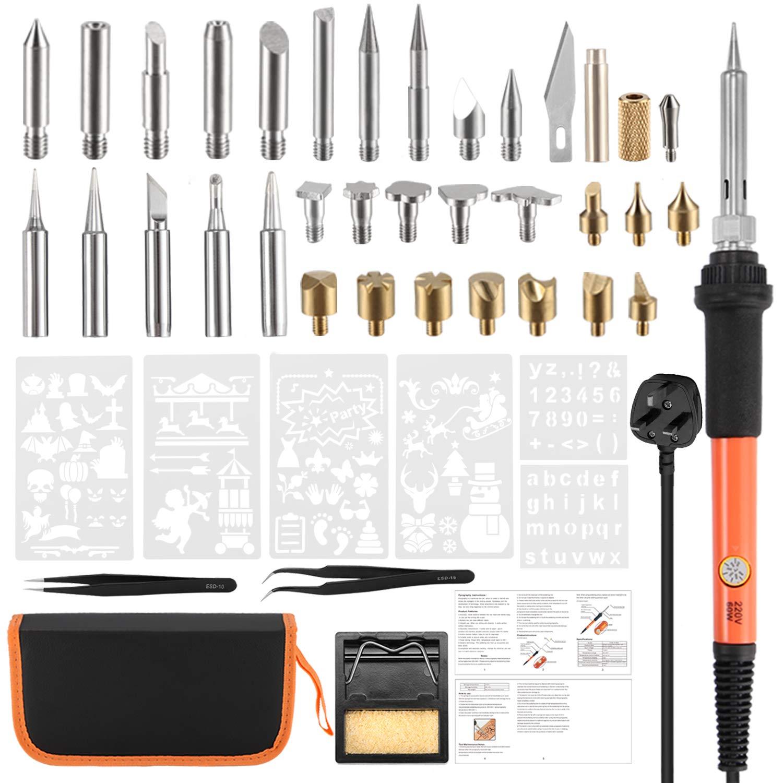 Wood Burning Kit, Wood Burning Tool Pen Set, 44Pcs 60W Creative Woodburner Tool Kit Temperature Adjustable with Soldering Iron Pen, Embossing/Carving Tip, 5 Soldering Tip, 6 Stencil, Stand,Case Houkiper