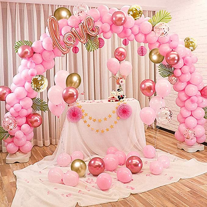 Eccezionale kit da 109 pezzi decorazioni con nastro Palloncini rosa oro AG13