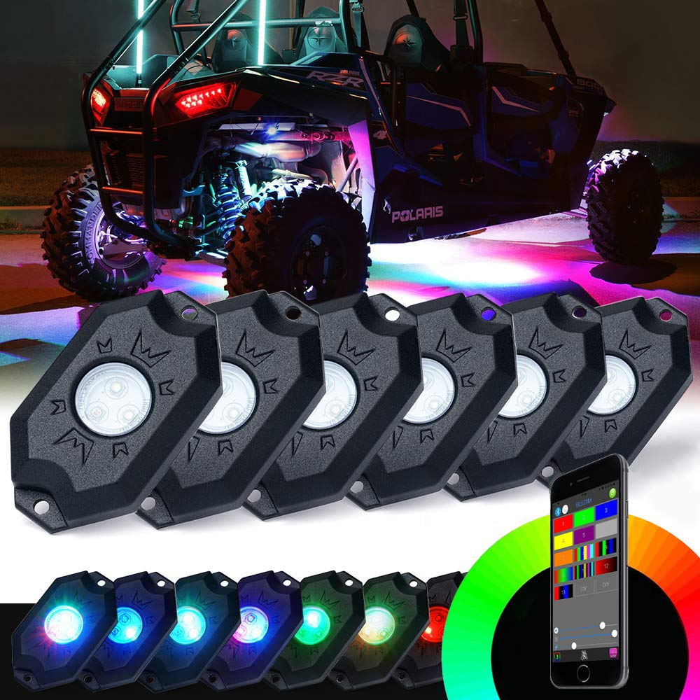 Xprite 3rd-Gen 4 Pods RGB LED Rock Lights, Multicolor Neon LED Light Kit with Bluetooth Controller for Jeep, Off-Road, 4X4, Truck, ATV/SUV, Boat,Timing, Music Mode, Flashing DL-ROCKLIGHT-G1-4PC