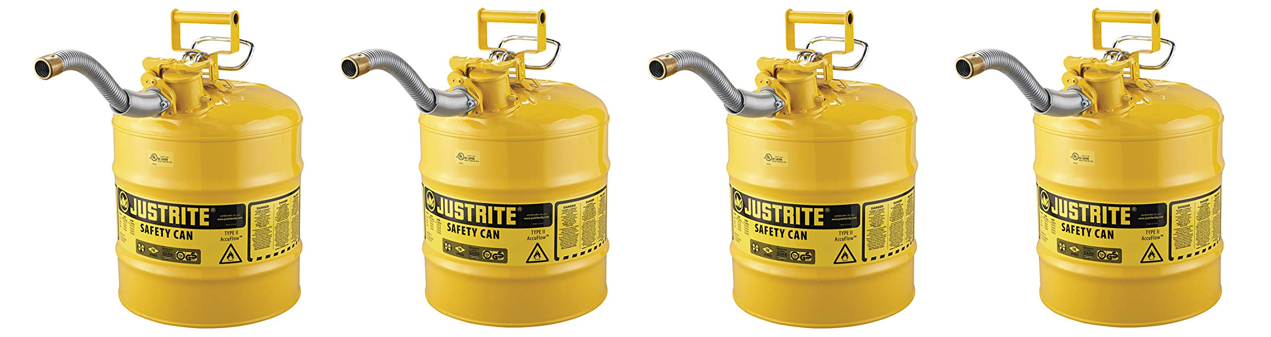 Justrite 7250230 AccuFlow 5 Gallon, 11.75'' OD x 17.50'' H Galvanized Steel Type II Yellow Safety Can with 1'' Flexible Spout (Pack of 4)
