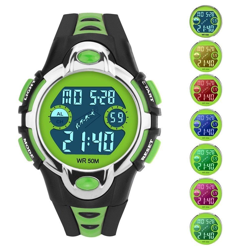Siniya Kids Watch Quartz Watch Waterproof Swimming Sports Watch Boys Girls Led Digital Watches for Kids (7 Colors Black Green)