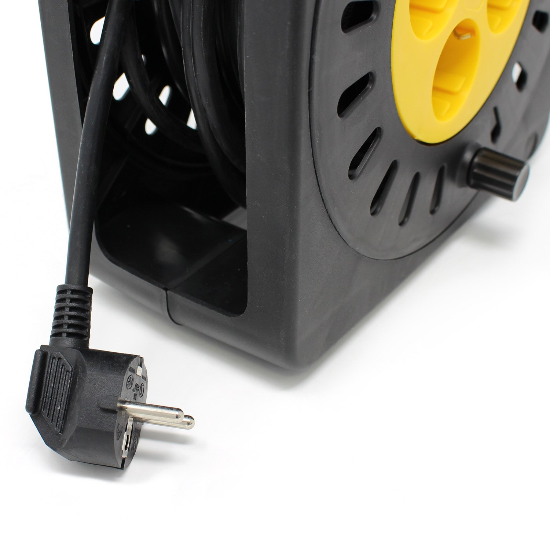 HALOTEC Carrete alargador de cable Enrollacables de carrete 4 tomas 10 metros con protección termica (Cable manguera H05VV-F.3G): Amazon.es: Bricolaje y ...