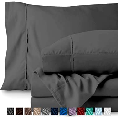 Bare Home Full Sheet Set - 1800 Ultra-Soft Microfiber Bed Sheets - Double Brushed Breathable Bedding - Hypoallergenic – Wrinkle Resistant - Deep Pocket (Full, Grey)