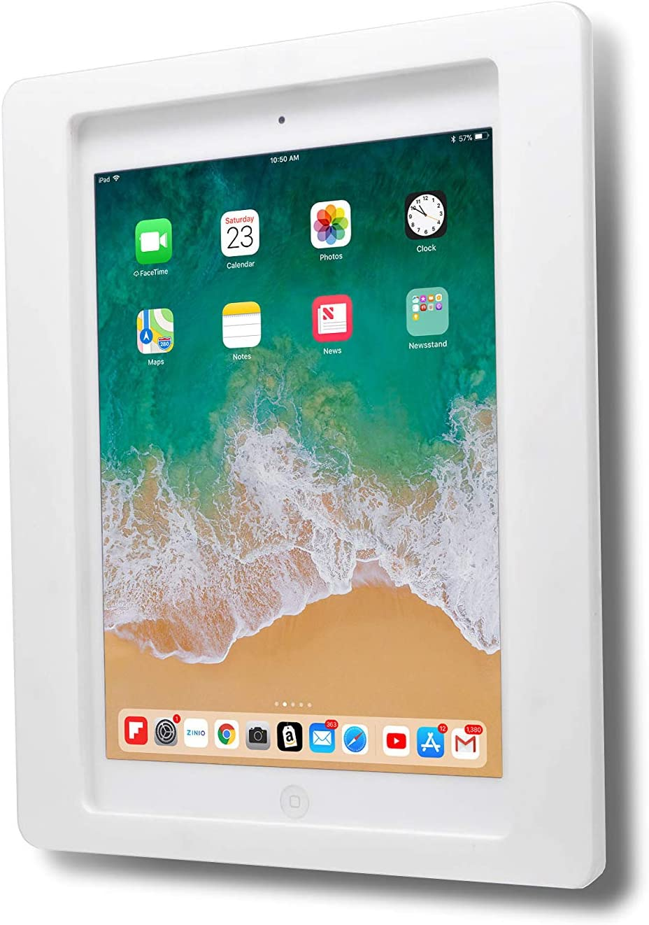 "TABcare Anti-Theft Acrylic VESA Enclosure for Apple iPad Mini 1/2/3 with Free Wall Mount Kit & 90-Degree Angle Charge Cable (iPad Mini 1/2/3 8"", White)"