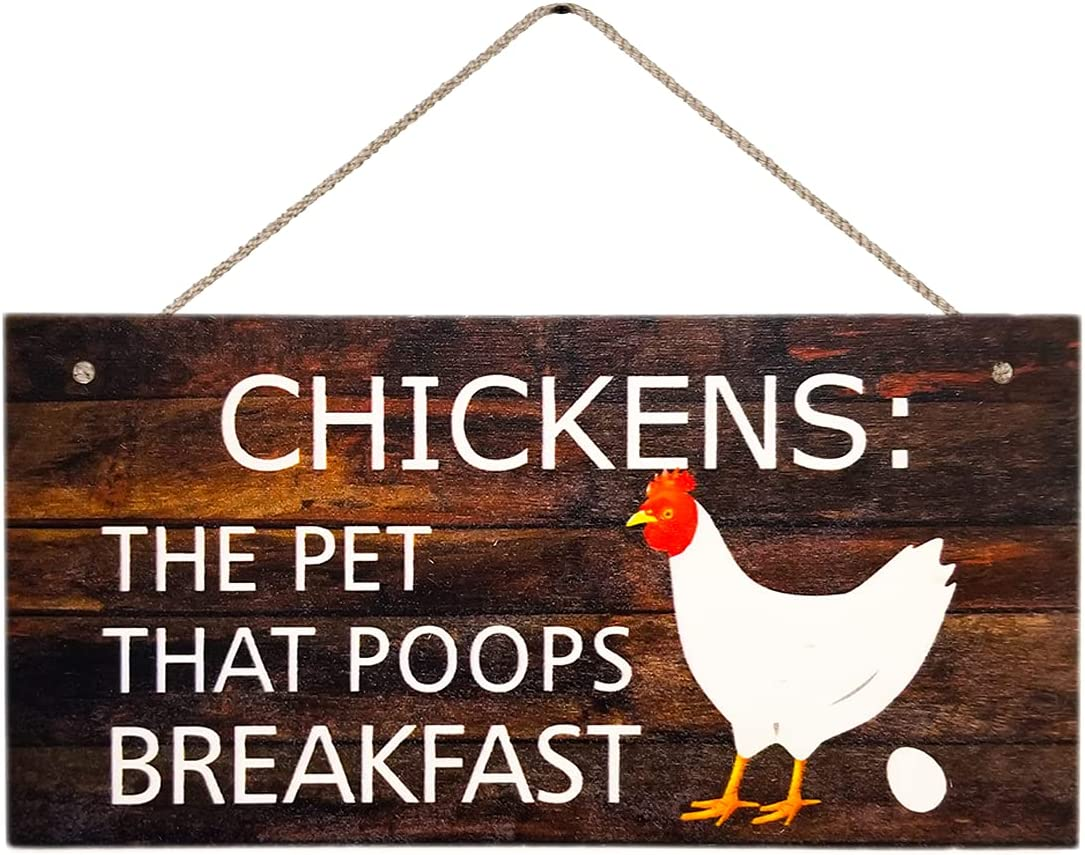 Chickens The Pet That Poops Breakfast, Hanging Funny Wall Signs, Pet Lover, Vintage Farmhouse Home Decor, Wooden Wall Art Sign, Cute Decorative Plaque