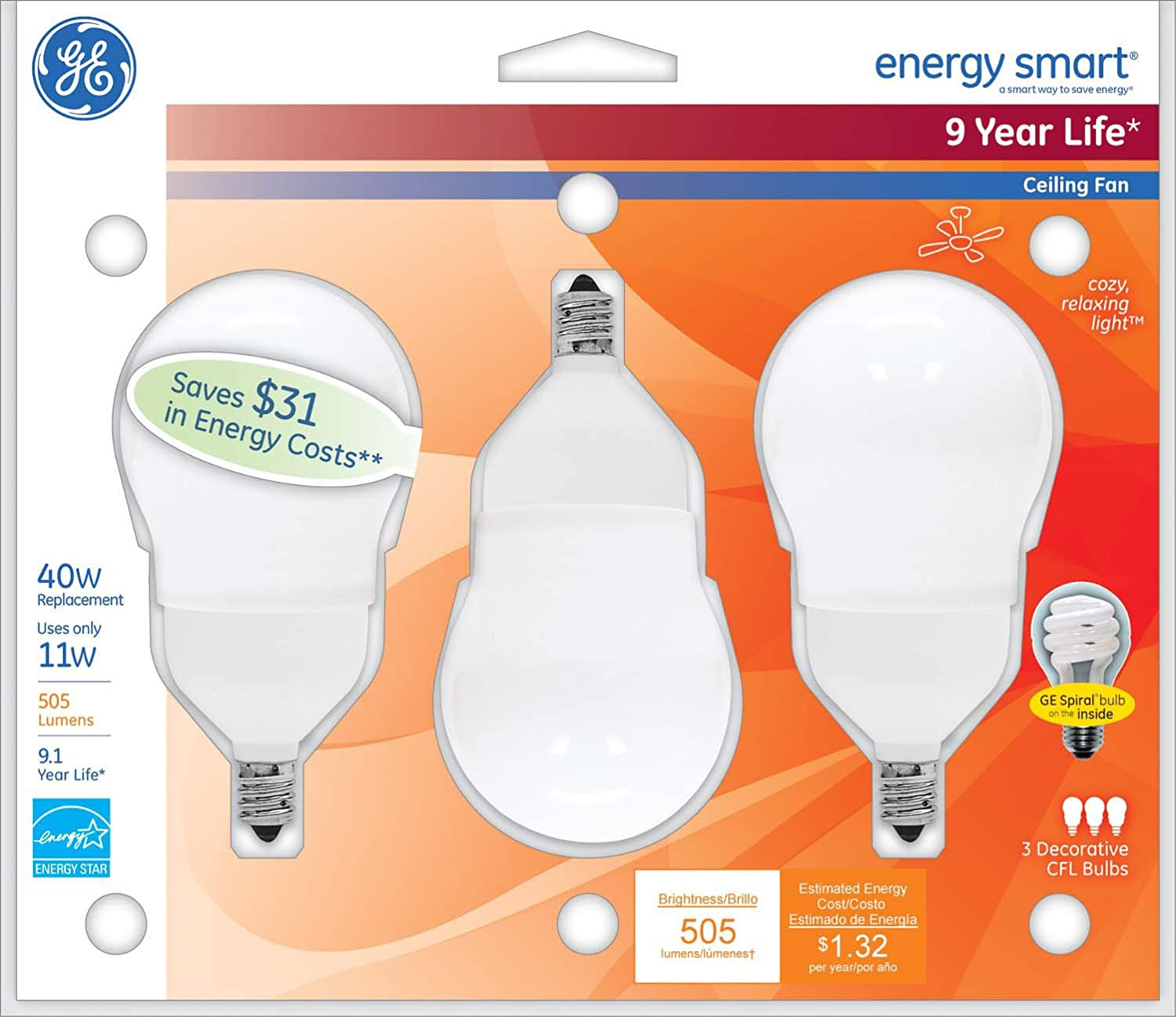 GE Lighting Energy Smart CFL 11 Watt 40 watt replacement