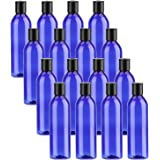 Bekith 16 Pack Blue Empty Plastic Squeeze Bottles with Flip Cap - 8oz Travel Containers For Shampoo, Lotions, Liquid Body Soa