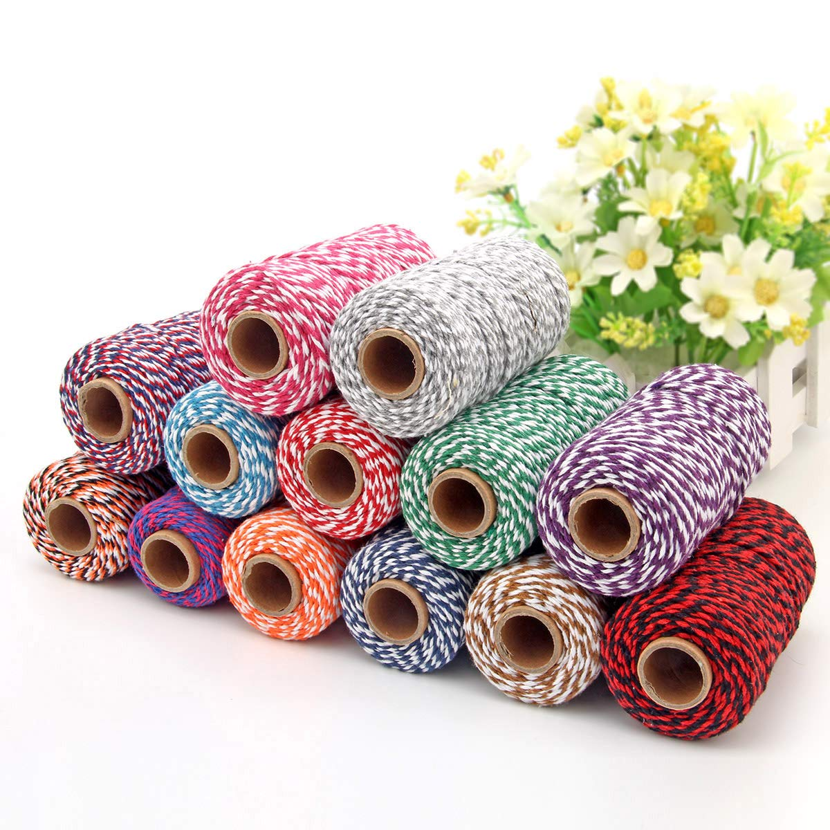 2 Roll Cotton String Rope 656 Feet Yzsfirm Gold Wire and Black 2mm Thick Bakers Twine for Crafts Bundling