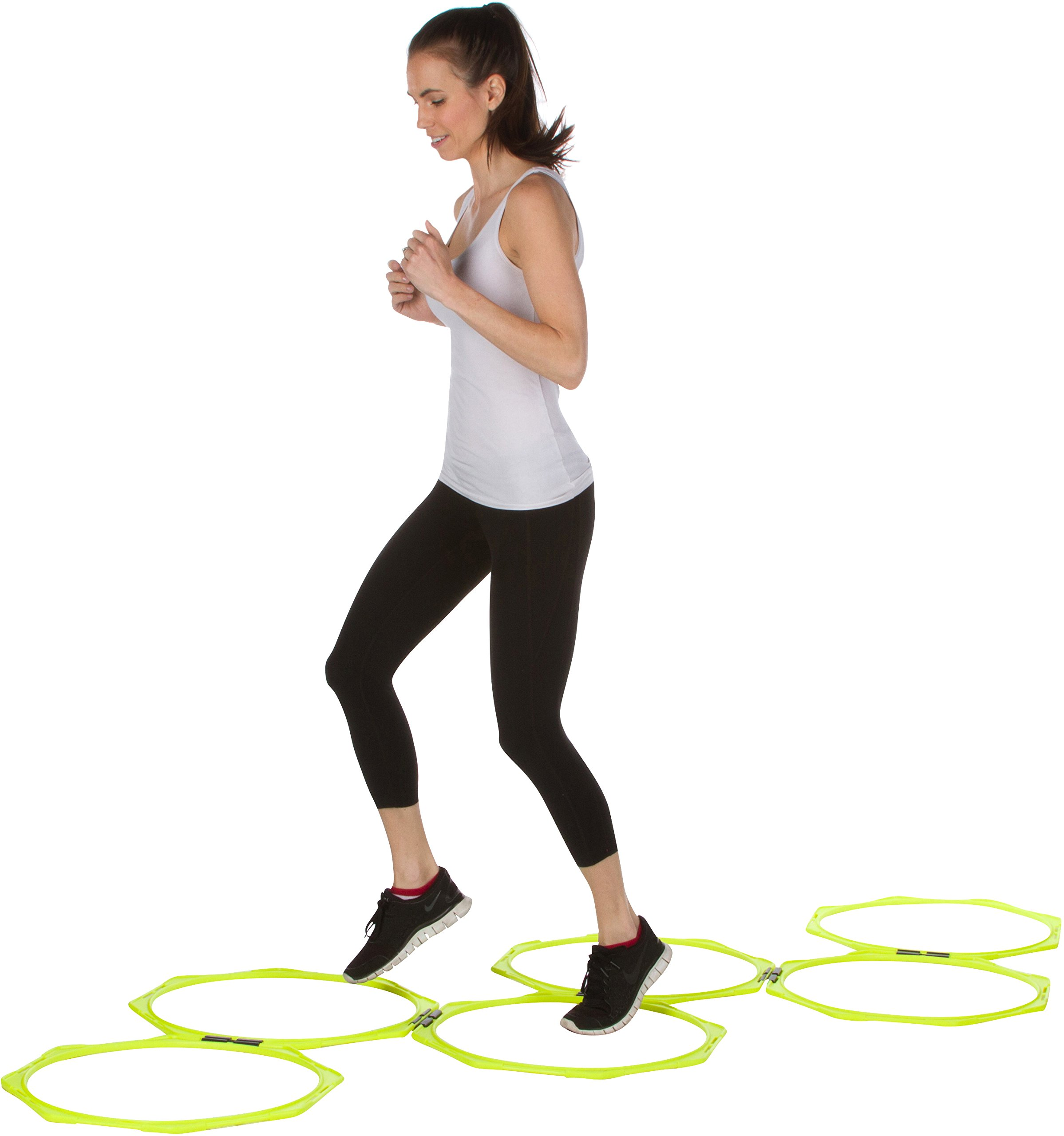 Trademark Innovations 20'' Hexagonal Speed & Agility Training Rings - Set of 6 With Carry Bag By (Light Green)