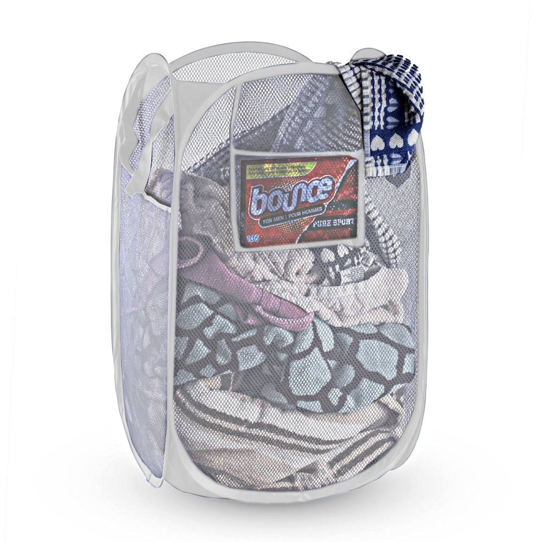 NYHI Mesh Pop-Up Foldable Laundry Hamper |Laundry Basket Foldable and Portable | Includes Extra Side Pockets | Collapsible Laundry Basket for Travelling | Odor & Moisture Proof Folding Laundry Basket