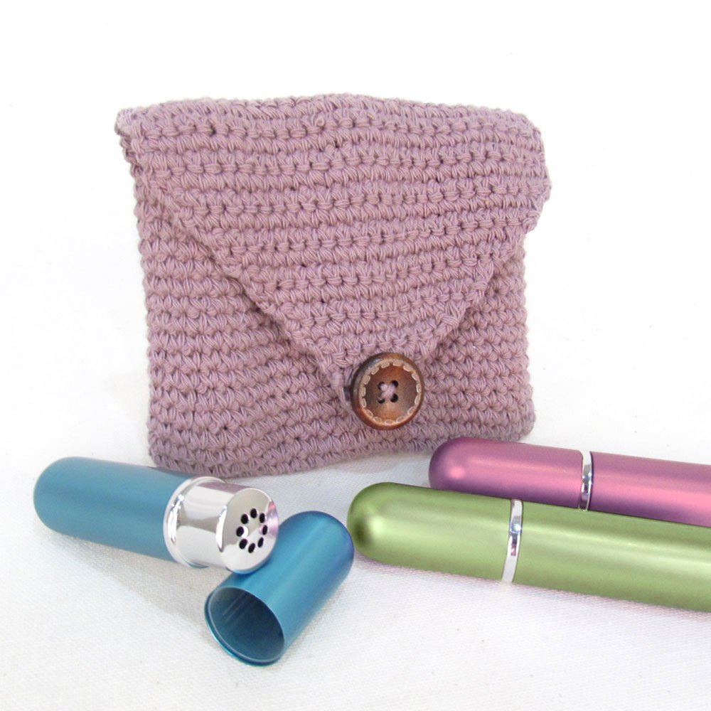 Purple Crochet Case and 3 Empty Essential Oil Aluminum and Glass Refillable Inhalers by Rivertree Life