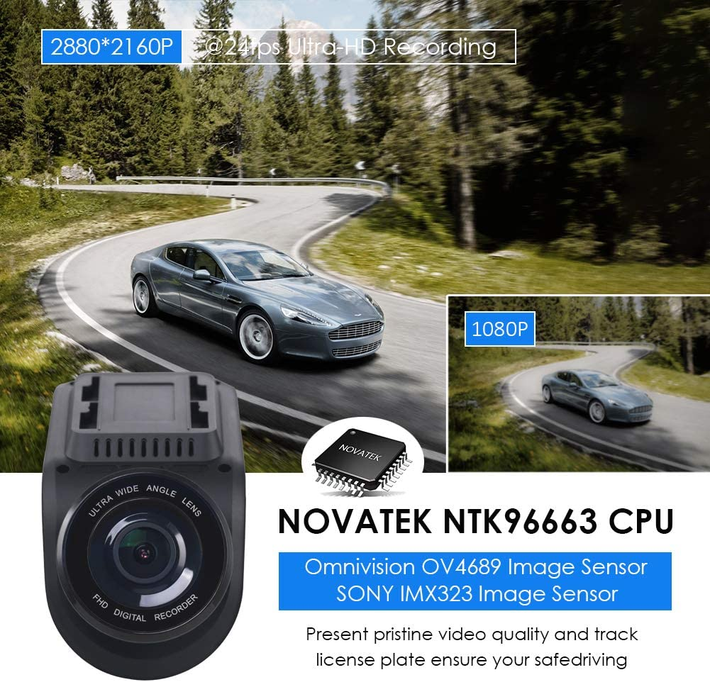 Super Capacitor Time Lapse Lifechaser Dual Dash Cam Car Camera 4K UHD WiFi GPS Night Vision 170/° with Front and Rear Camera 1080P+1080P Loop Recording for Cars HDR G-Sensor Trucks