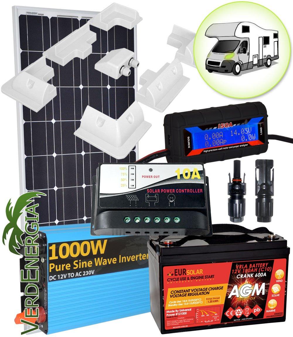 Kit de Panel solar 12V 100W Mono de Camper con 100Ah batería ...