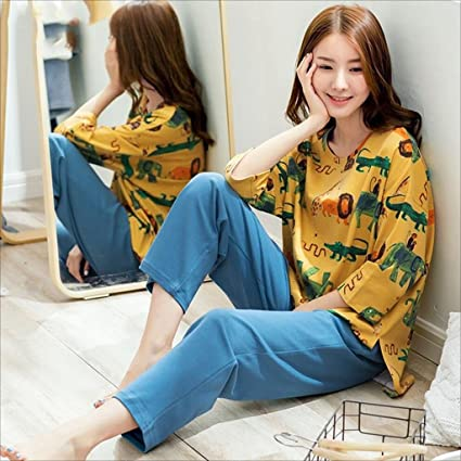 Pijama conjunto Mujer ropa de dormir Ropa de dormir Cuello redondo Algodón Amarillo Azul impresión Dibujos