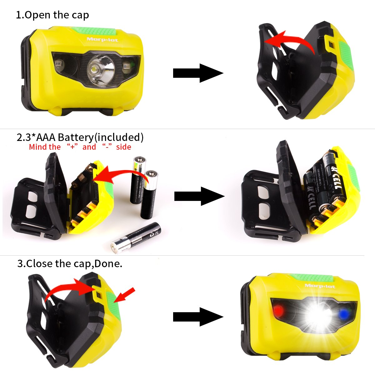 Morpilot LED Headlamp, Super Bright 180 Lumen, 5 Modes Emergency Flashlight Headlight, Waterproof Lightweight with SOS Strobe for Camping, Caving, Hiking, Walking, 3 Packs, 9 AAA Batteries Incl