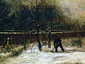 1art1 Vincent Van Gogh Poster Art Print - The Parsonage Garden of Nuenen in The Snow, 1885 (32 x 24 inches)