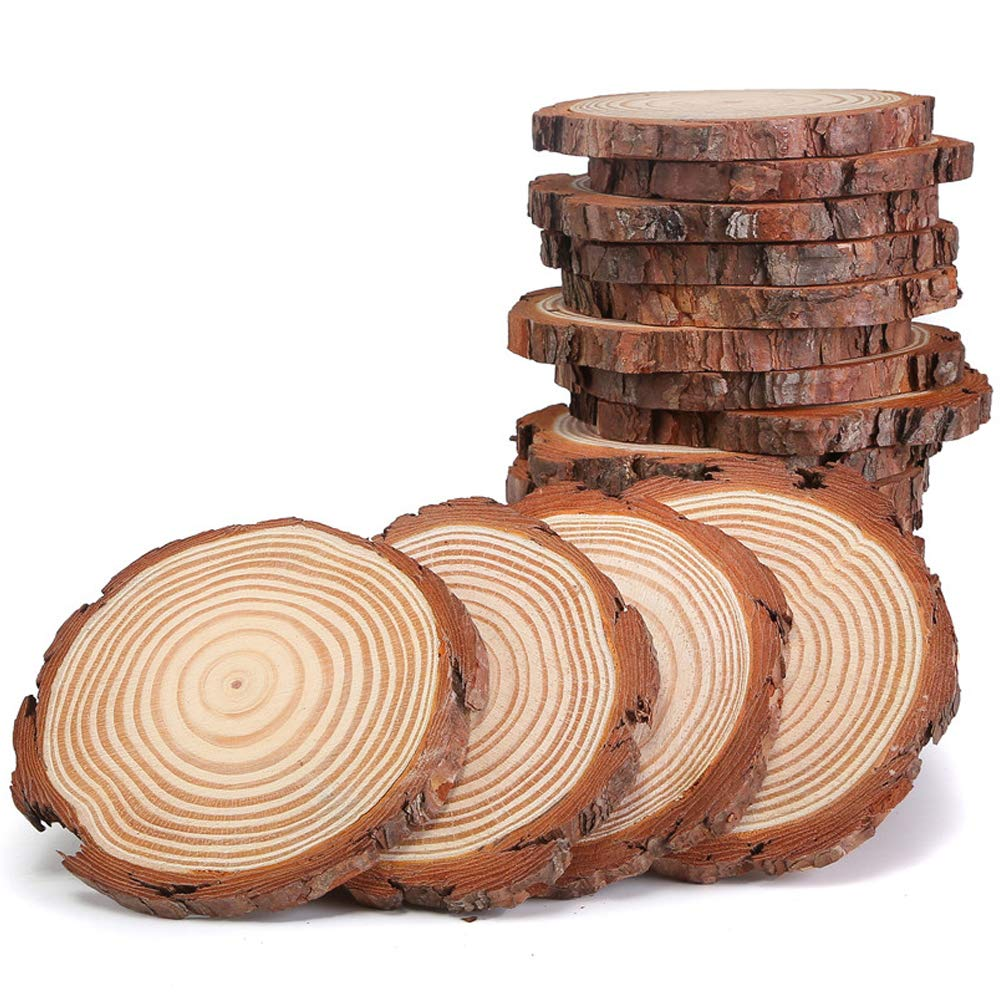 Unfinished Natural Wood Slices 3.5 4 Inch 20 pcs with Tree Bark Circles Log Discs for DIY Crafts Christmas Rustic Wedding Ornaments by AIMINUO