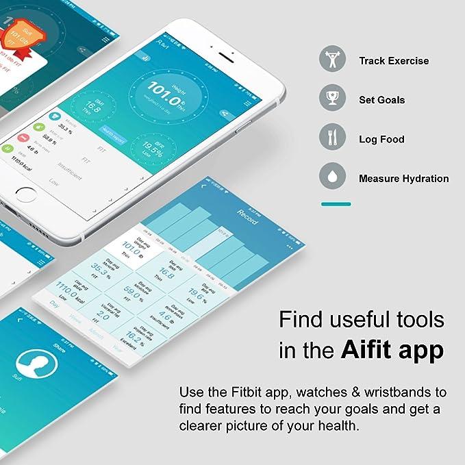 SILKING Bluetooth Escala de grasa corporal Mini Báscula de Baño Digital con Análisis Corporal Electrónico, Control por medio de APP IOS y Android para peso ...