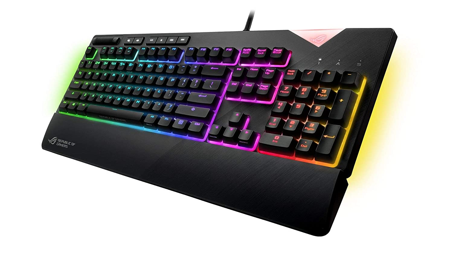 ASUS ROG Strix Flare Cherry MX Red Aura Sync RGB Mechanical Gaming Keyboard with Switches, Customizable Badge, USB Pass Through and Media Controls Renewed