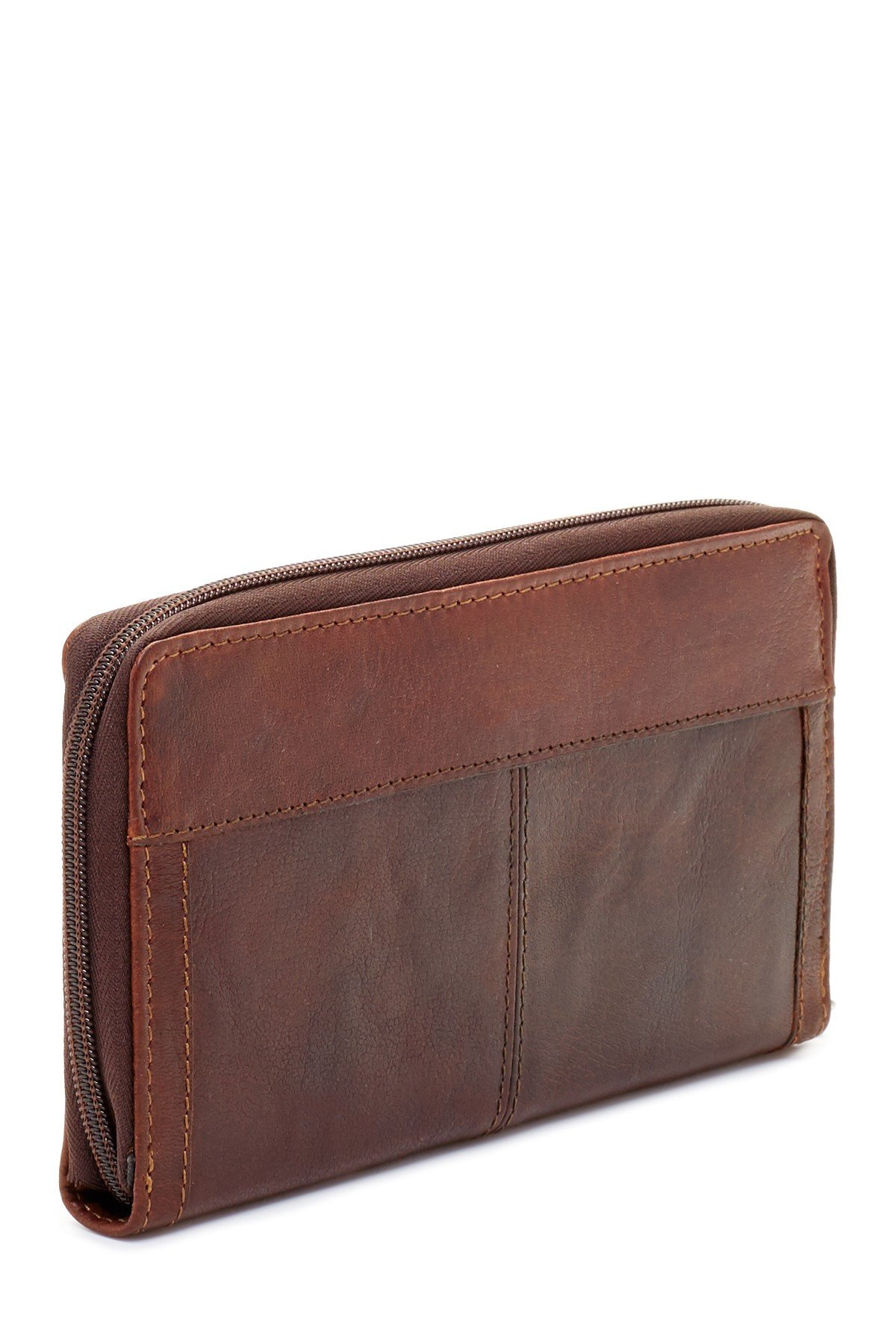 Jack Georges Voyager Large Zip-Around Leather Travel Wallet in Brown