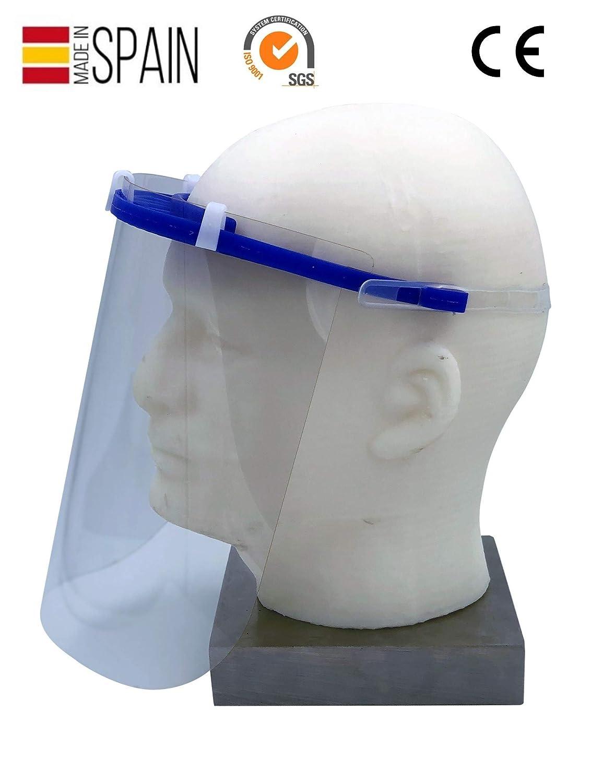MCI - Visera proteccion facial, con pantalla protectora transparente antisalpicaduras, fabricada en España en silicona flexible ESTERILIZABLE, excelente ajuste y confort, con marcado CE