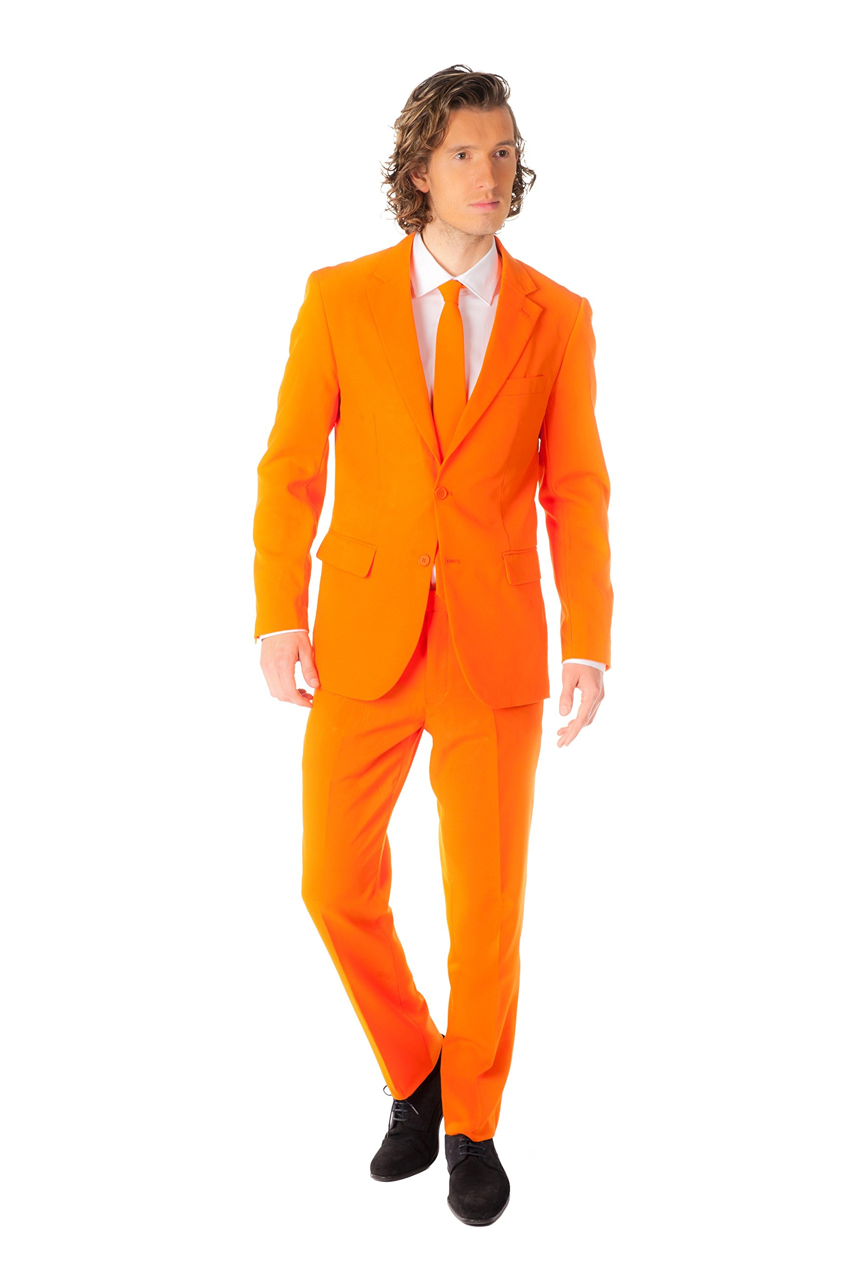 OppoSuits Men's Party Costume Suit, Orange, 36