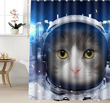 Earley Custom 36u0026quot;x72u0026quot; Space Cat Galaxy 3D Vintage Duschvorhang  Tier Thema Home Decor
