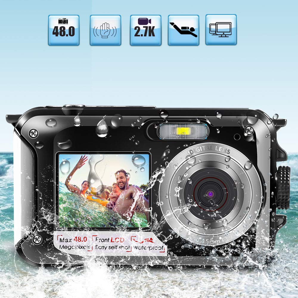 Underwater Camera for Snorkeling 2.7K Full HD 48MP Waterproof Camera Boys and Girls gift 16X Digital Zoom Flash light Selfie Dual Screens Build in Microphone(Black) by Star Power