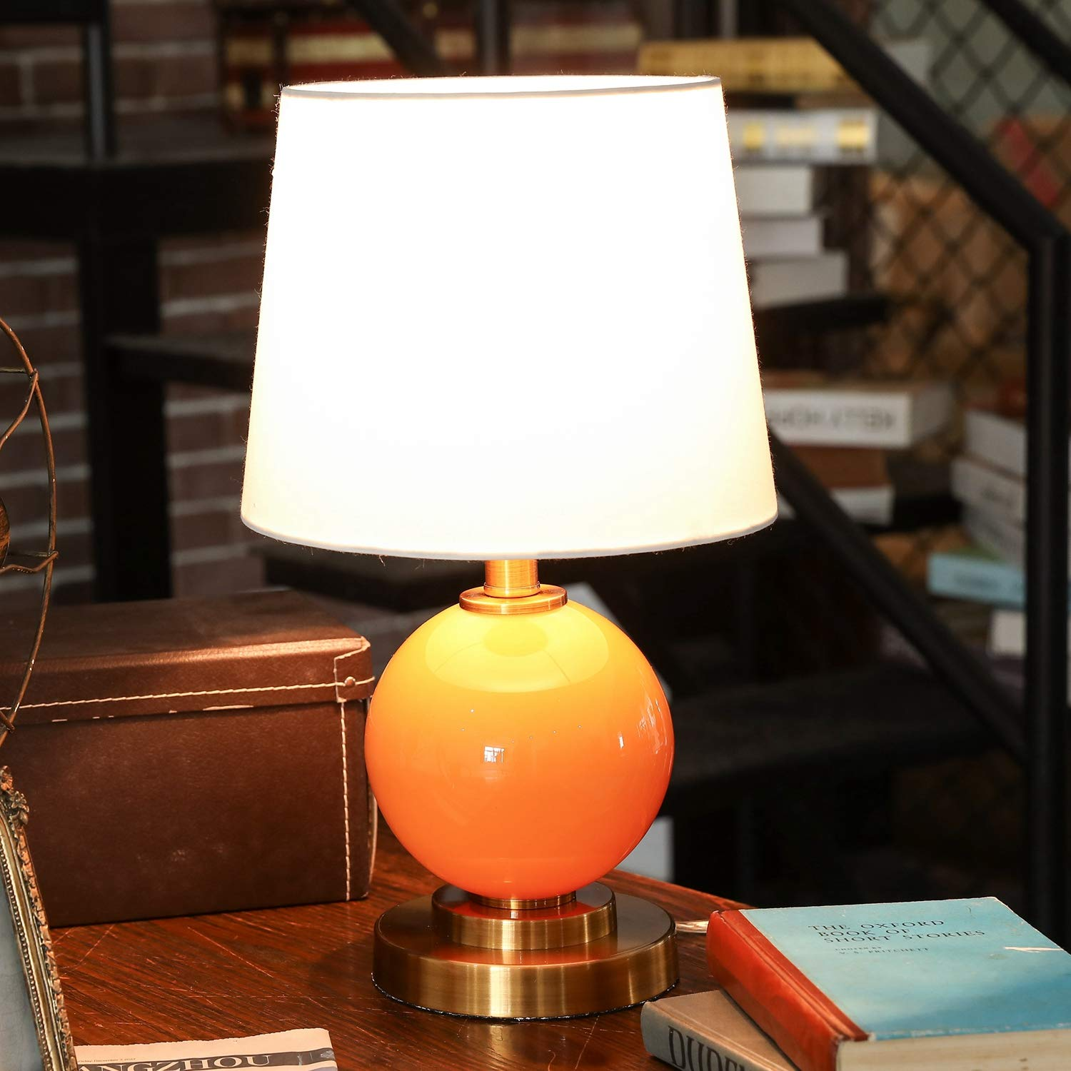 CO-Z 18 Bedside Lamp w//Black Hollowed Out Base Desk Lamp with White Fabric Shade for Living Room Bedroom UL Certificated