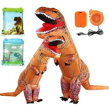 Tacobear Inflables Dinosaurio T-Rex Disfraz Hinchable Dinosaurio Disfraz hinchaple Vestido con Bolsa de Lazo Fiesta Halloween Cosplay para Adultos y ...