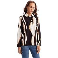 snow whilt Women's Bohemian Dot Long Sleeve Turtleneck Shirt Ruffle Casual Work Shirt Top