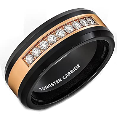 Mens Wedding Band Black Tungsten Ring Rose Gold Inlay With Cubic