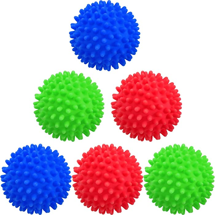 6 Pieces Laundry Drying Balls, Reusable Dryer Balls, Replace Laundry Drying Fabric Softener and Saves, Reusable Washing Machine Dryer Cleaning Soften Clothes Wash Ball (Random Color)