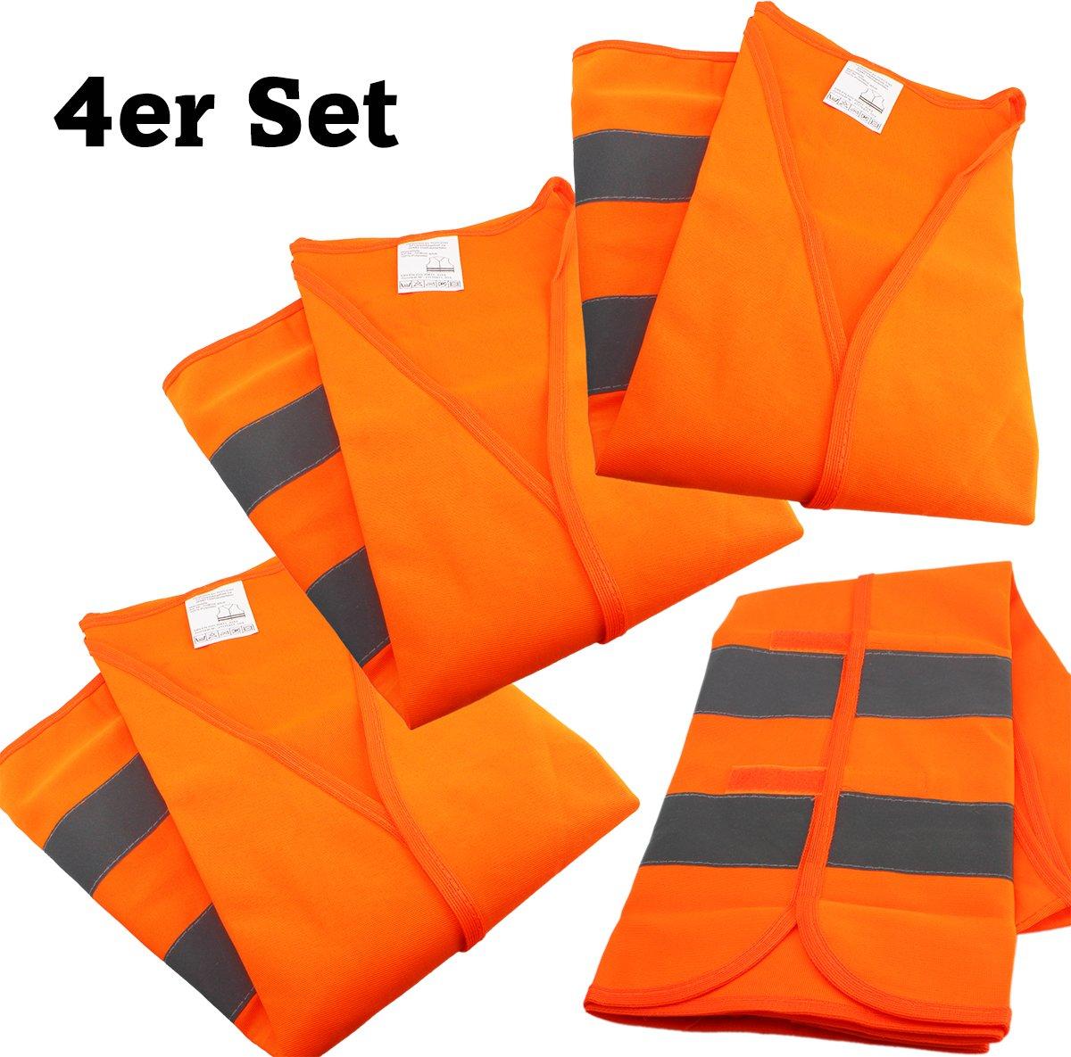 Pannenweste EN 471 orange mit Reflektorstreifen und Klettverschluss Universalgr/ö/ße Sicherheitsweste GYD 4 St/ück Warnweste f/ür Kinder