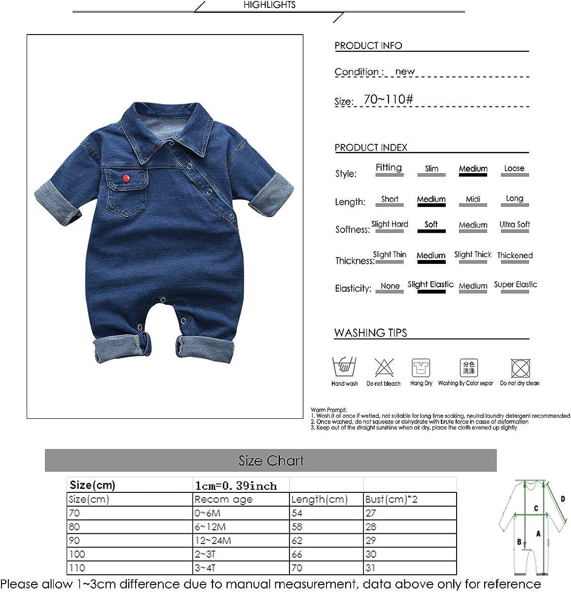 greatmtx Pagliaccetto per bambini Tuta da Neonato per Jeans tuta in Denim a Maniche Lunghe per Bambini Unisex