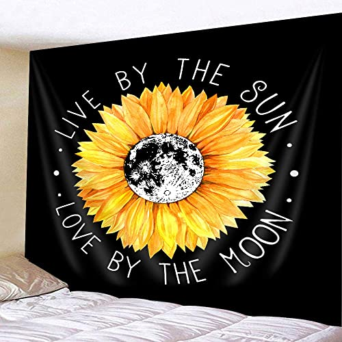 JAWO Sunflower Tapestry, Sunflower Live by The Sun Love by The Moon Tapestry, Inspirational Quote Boho Style Tapestry Wall Hanging, Yellow Tapestry for Bedroom Living Room Dorm 90X70Inches