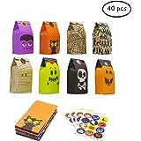Bravo Sport - Bolsas de Regalo de Papel para Halloween o Truco o golosinas, 8 diseños, 40 Unidades